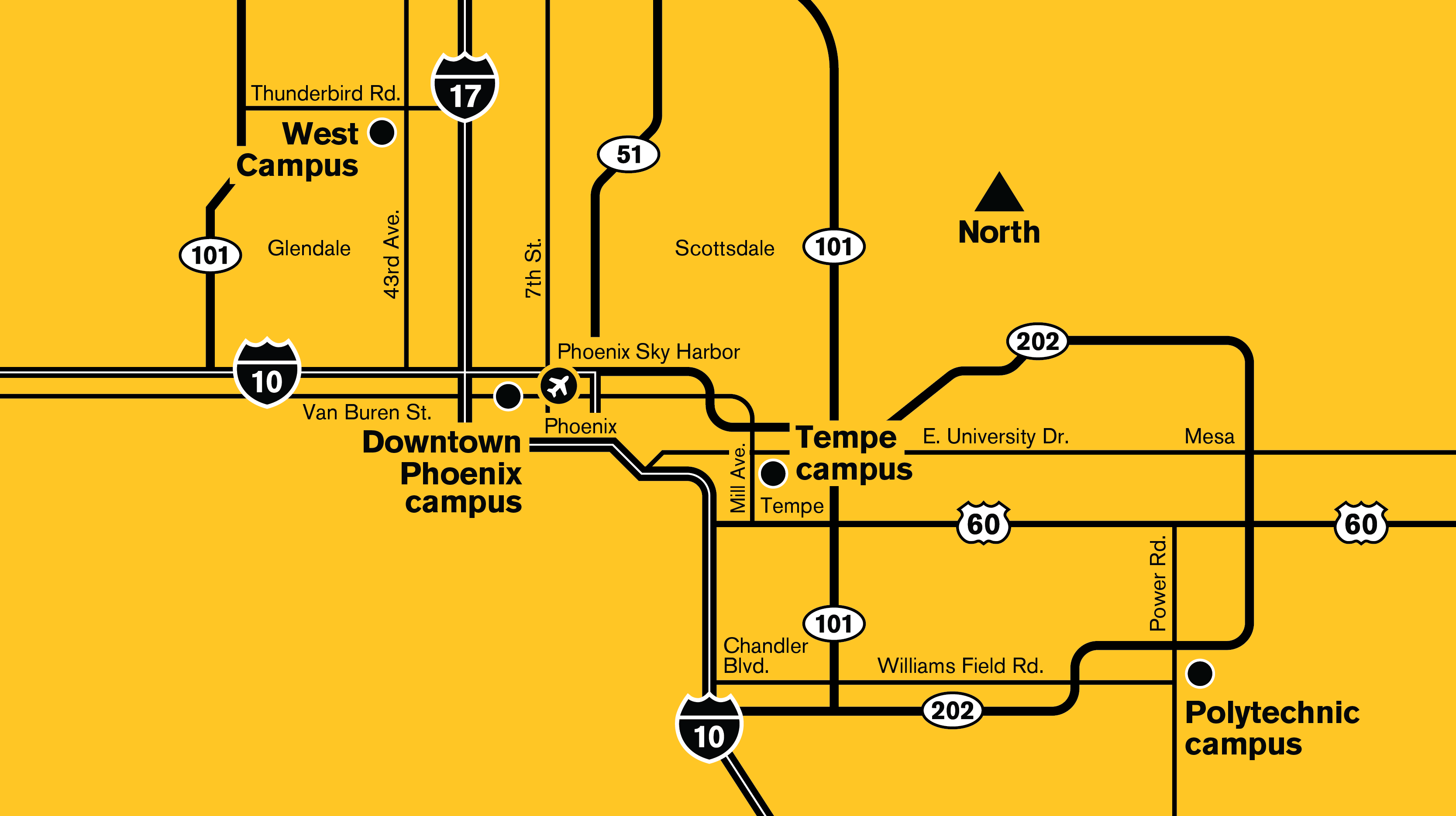 A map of ASU locations around the Valley