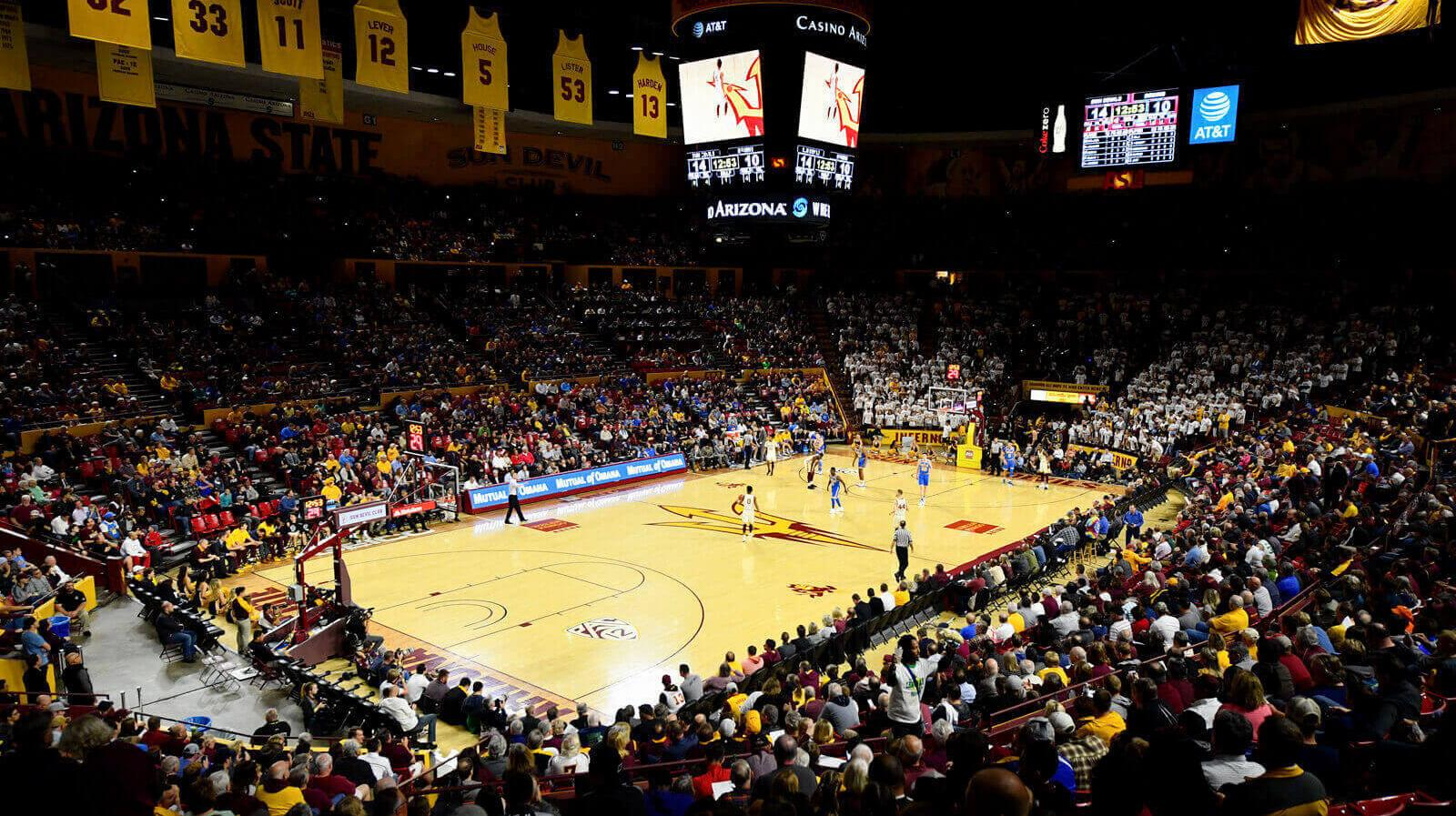 The crowd watches a student basketball game at Wells Fargo Arena