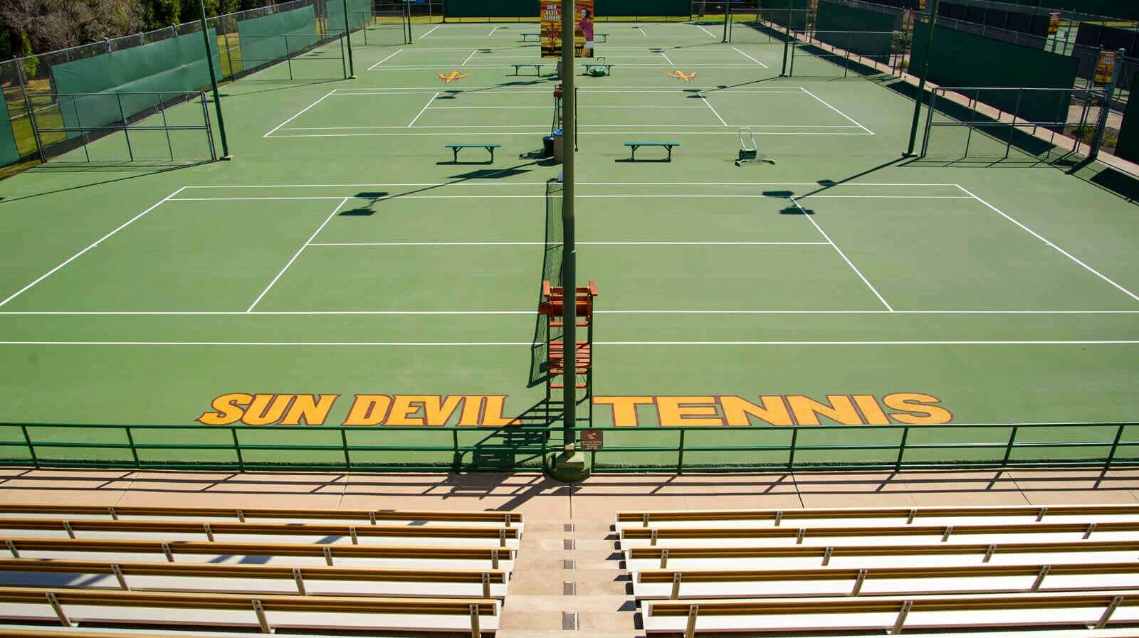 The view from the stands at the Whiteman Tennis Center