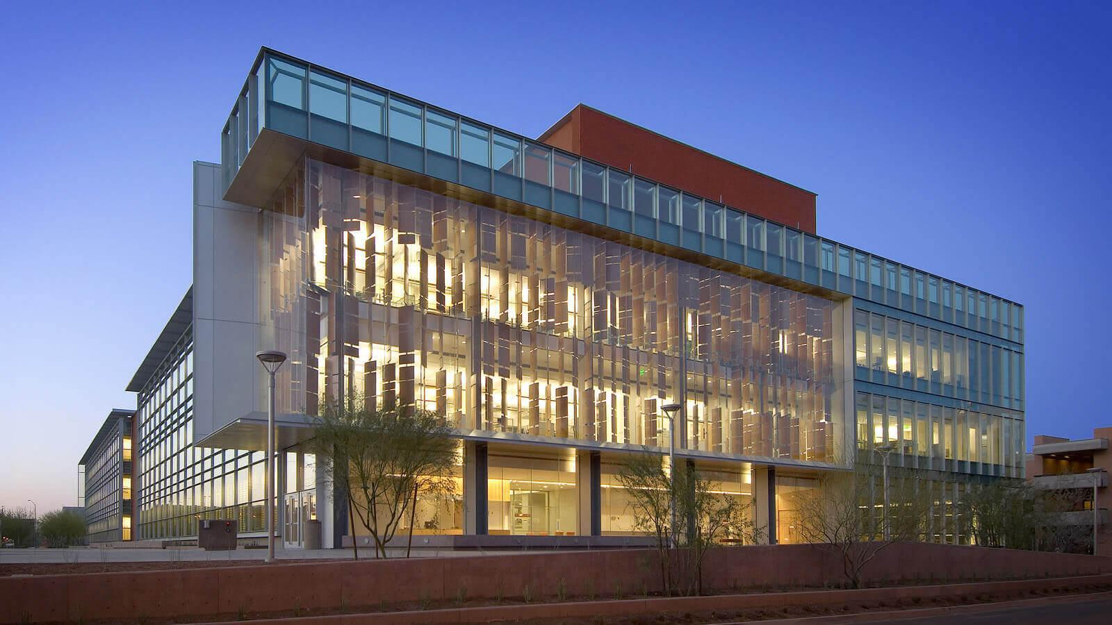 The exterior of the Biodesign building on ASU's Tempe campus