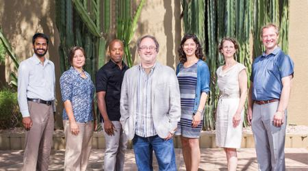 New faculty for the Arizona State University School for the Future of Innovation in Society poses for a portrait at the Doubletree Resort in Tempe, Arizona.