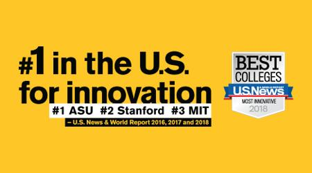 ASU is number 1 in the U.S. for innovation for 2016, 2017 and 2018